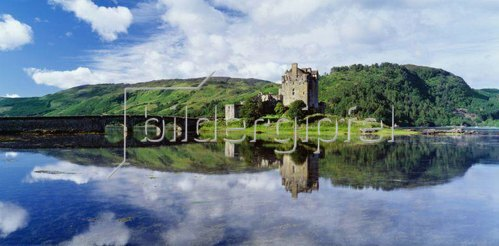 Eilean Donan Castle, near Dornie village, and Loch Duich bay,