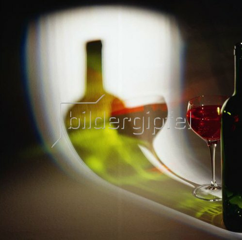 Red wine, glass and bottle,