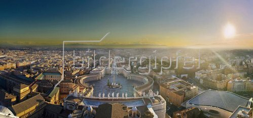 Panoramic City overview from St. Peter Dome, Petersplatz, Provinz Roma, Vatikan, Rom, Latium, Italien