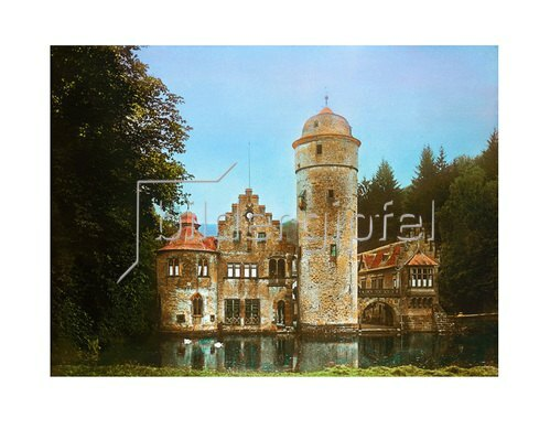Bayern um 1900 in Farbe: Wasserschloss Mespelbrunn. Landkreis Aschaffenburg. Handkoloriertes Glasdiapositiv um 1900.