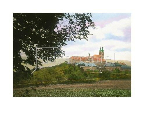 Bayern um 1900 in Farbe: Kloster Banz. Bayern, Deutschland. Handkoloriertes Glasdiapositiv um 1900.