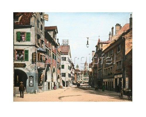 Bayern um 1900 in Farbe: Die Maximilianstraße in Lindau am Bodensee. Bayern. Handkoloriertes Glasdiapositiv um 1900.