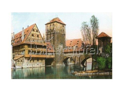 Bayern um 1900 in Farbe: Nürnberg. Der Henkersteg über die Pegnitz. Deutschland.  Handkoloriertes Glasdiapositiv um 1910
