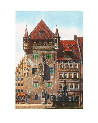 Bayern um 1900 in Farbe: Nürnberg. Das Nassauerhaus. Deutschland. Handkoloriertes Glasdiapositiv um 1910.