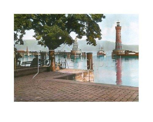 Bayern um 1900 in Farbe: Lindau am Bodensee. Der neue Hafen mit dem Leuchtturm und dem Löwen-Denkmal. Handkoloriertes Glasdiapositiv um 1900.