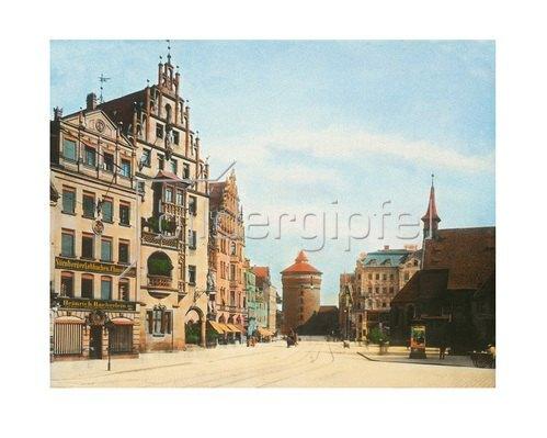 Bayern um 1900 in Farbe: Nürnberg. Das Frauentor. Deutschland. Handkoloriertes Glasdiapositiv um 1910.