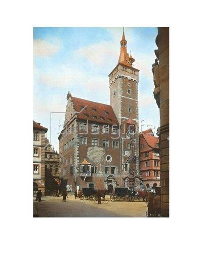 Bayern um 1900 in Farbe: Würzburg. Das alte Rathaus mit dem sogenannten Grafen Eckards-Turm. Handkoloriertes Glasdiapositiv um 1900