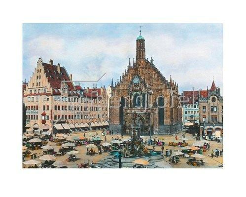 Bayern um 1900 in Farbe: Nürnberg. Hauptplatz mit Frauenkirche. Deutschland. Handkoloriertes Glasdiapositiv um 1910.