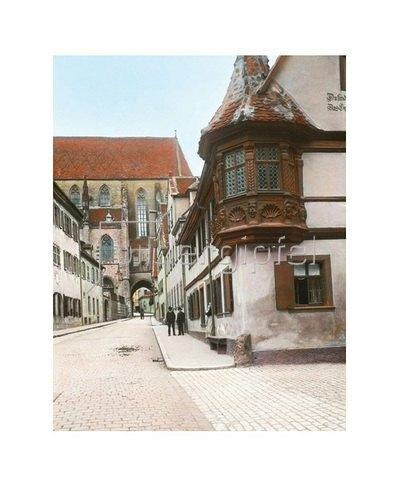 Bayern um 1900 in Farbe: Rothenburg ob der Tauber. Feuerleins-Erker. Handkoloriertes Glasdiapositiv um 1905.