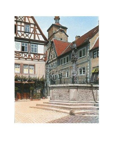 Bayern um 1900 in Farbe: Rothenburg ob der Tauber. Der Kapellenplatz mit dem Seelbrunnen. Handkoloriertes Glasdiapositiv um 1905.