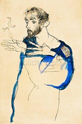 Egon Schiele: Gustav Klimt in seinem blauen Arbeitskittel, 1913