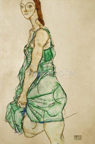 Egon Schiele: Stehende Frau in grünem Hemd. 1914.