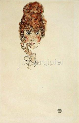 Egon Schiele: Portraitkopf Edith Schiele, 1917