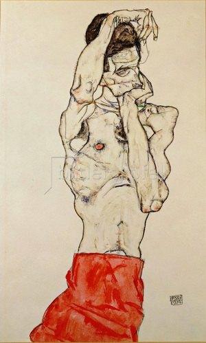 Egon Schiele: Stehender männlicher Akt mit rotem Lendentuch, Gouache, Aquarell und Bleistift. 1914. 48 x 32 cm.