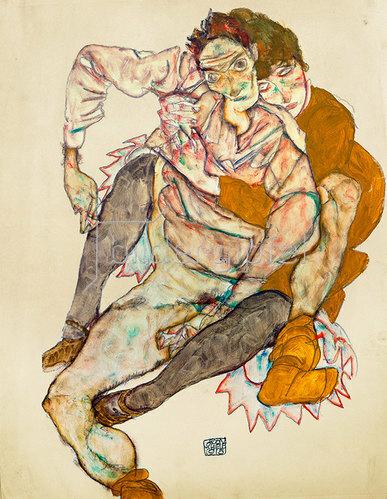 Egon Schiele: Sitzendes Paar: Egon und Edith Schiele, 1915