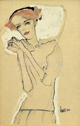 Egon Schiele: Frauenbildnis mit gefalteten Händen, Farblithographie, um 1910.