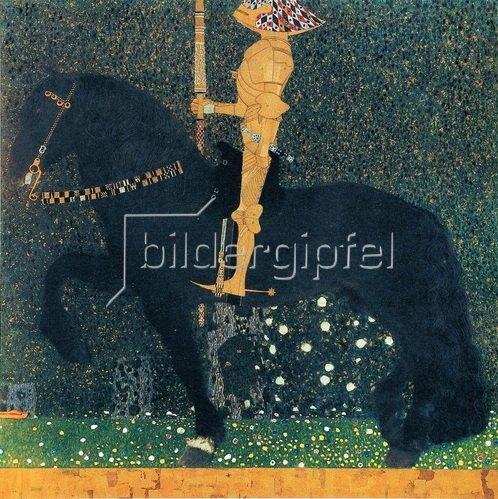 Gustav Klimt: Das Leben ein Kampf, auch Der goldene Ritter. Öl/Lwd., 100 x 100 cm. 1903.