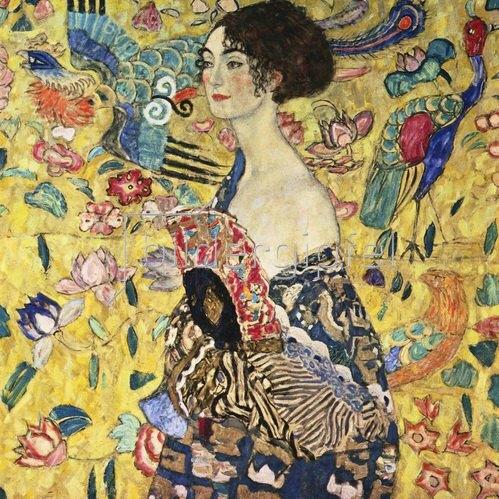 Gustav Klimt: Dame mit Fächer. Öl/Lwd. 100 x 100 cm. 1917/18.