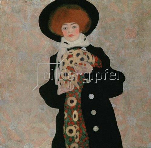 Egon Schiele: Bildnis einer Frau mit schwarzem Hut (Gertrude Schiele) 1909.
