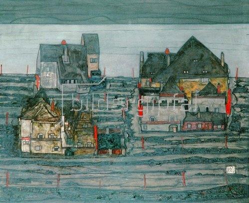 Egon Schiele: Vorstadt I. Öl auf Leinwand  Oil on canvas, auf Holz gespannt 1914 101x 120,5 cm
