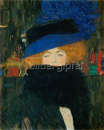 Gustav Klimt: Dame mit Hut und Federboa Öl/Leinwand 1909