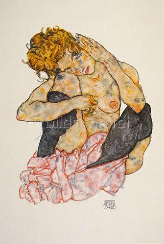 Egon Schiele: Kauernder Mädchenakt, die Wange auf das rechte Knie gelehnt, 1917