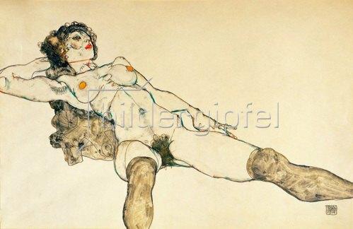 Egon Schiele: Liegender weiblicher Akt mit gespreizten Beinen. Gouache / Tempera. 1914.
