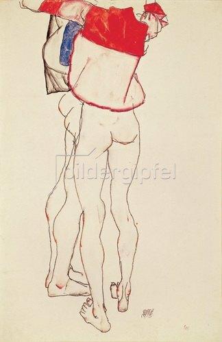 Egon Schiele: Zwei weibliche Torsi (Die Schwestern), 1913