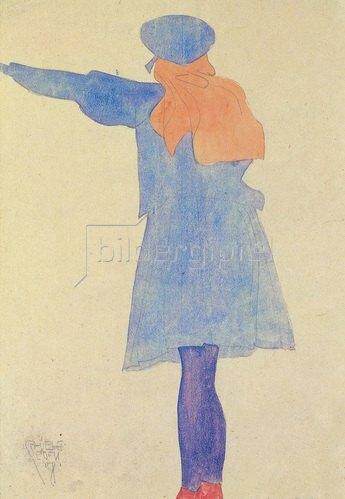 Egon Schiele: Stehendes Mädchen vom Rücken mit langem rostroten Haar, blauem Kleid und Kappe, 1908