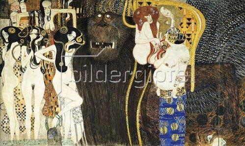 """Gustav Klimt: Beethovenfries. Ausschnitt mit der figuralen Komposition """" Die feindlichen Gewalten"""". Kasein/Stuck. 1902."""