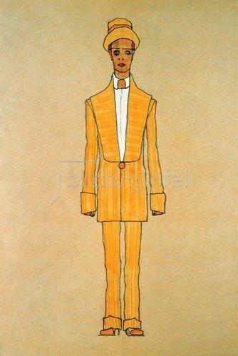 Egon Schiele: Modeentwurf: Gestreifter Herrenanzug und Hut, um 1910/11