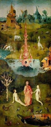 Hieronymus Bosch: Der Garten der Lüste. linker Flügel- Das Paradies. Öl/Holz. 220 x 97 cm. 1500