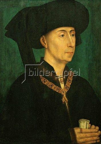 Rogier van der Weyden: Philipp der Gute, Herzog von Burgund. Kopie nach Rogier van der Weyden. Um 1500. 30,8 x 19,5 cm