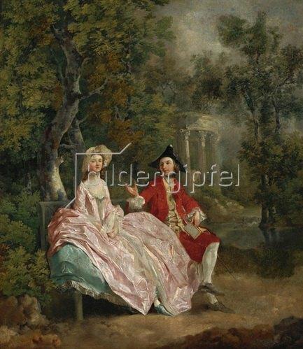 Thomas Gainsborough: Der Künstler und seine Frau Margaret in einem Park. Gemälde. um 1746