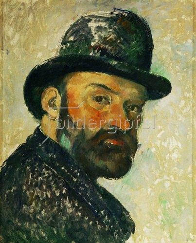 Paul Cézanne: Cezanne au chapeau melon-Paul Cezanne mit Hut, Selbstportrait. Gemälde 1885/86