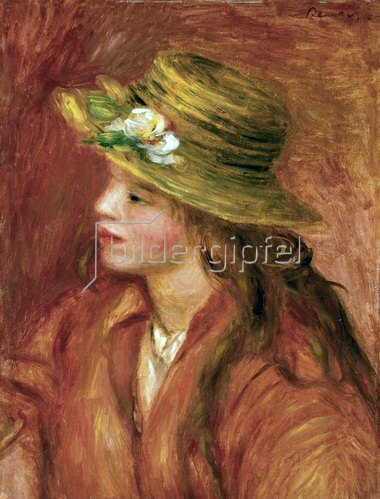 Junge Dame mit Hut. Öl auf Lw. Um 1908. 46 x 35 cm
