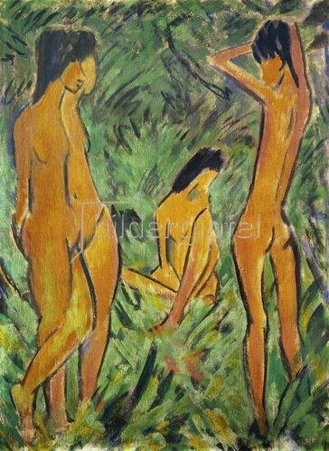 Otto Müller: Knabe vor zwei stehenden und einem sitzenden Mädchen 1918/19 Leimfarbe auf Rupfen. 120,2 x 88,2 cm. Sammlung Henri Nannen
