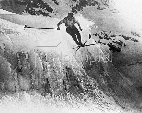 Skifahren für Mutige, Photographie. Um 1920/30.