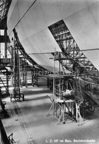 Bau des Zeppelin Luftschiffes LZ 127. Friedrichshafen. Photographie. 1928