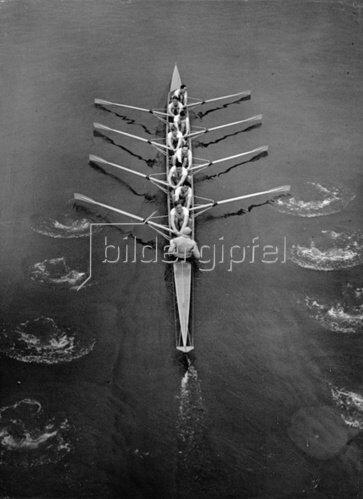A Das Ruderteam von Cambridge bei einem Wettkampf. England. Photographie. 6.3.1937