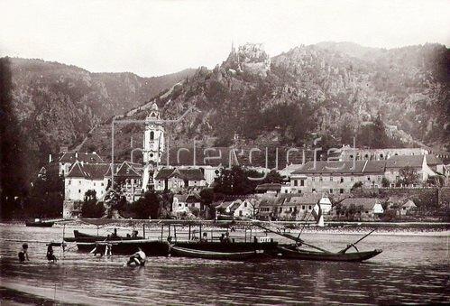 Ruine Dürnstein bei Krems, Niederösterreich, Österreich. Photographie. Um 1890.