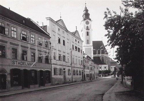 Stadtansicht von Eferding, Oberösterreich, Österreich. Photographie. Um 1890.