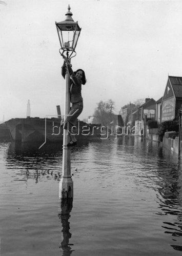 Überschwemmungen an der Themse. Eine junge Frau bringt sich auf einem Laternenmast in Sicherheit. Photographie. Um 1930.