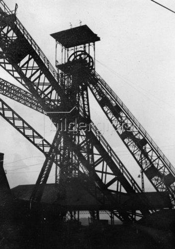 Mine in Belgien. Photographie. Um 1930.