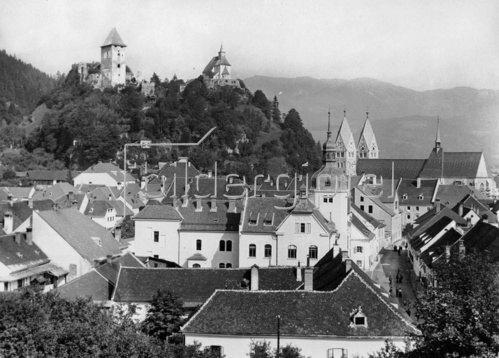 Stadtansicht von Friesach, Kärnten, Österreich. Photographie. Um 1935.