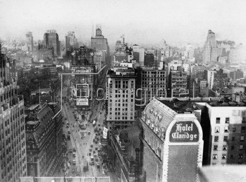 Blick auf den Times Square in New York. Amerika. Photographie. Um 1935.
