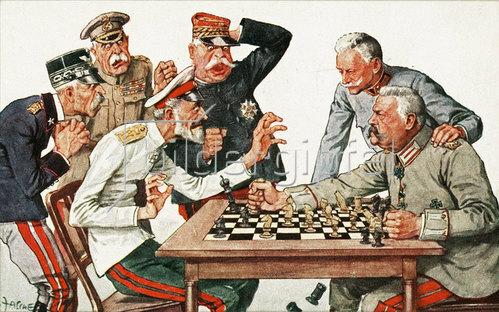 Feldmarschall Hindenburg setzt den Russischen Zaren Nikolaus II. schachmatt