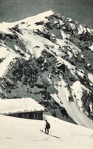 Blick auf die Oberkaseralm in Kitzbühel.  Um 1910