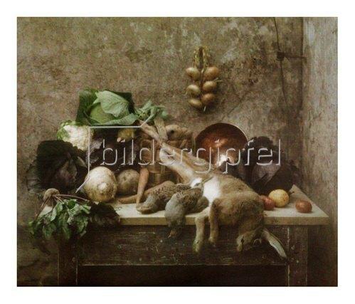 Franz Kaiser: Autochrome um 1908, Stillleben mit Gemüse und einem Hasen