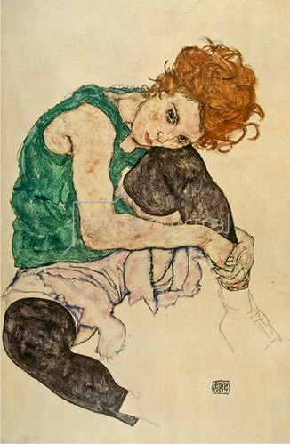 Egon Schiele: Sitzende Frau mit hochgezogenem Knie. 1917